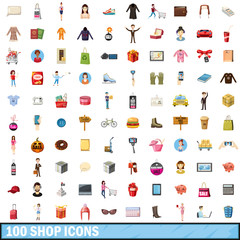 100 shop icons set, cartoon style