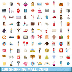 100 shopping mall icons set, cartoon style