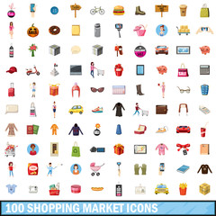 100 shopping market icons set, cartoon style
