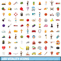 100 vitality icons set, cartoon style
