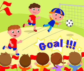 Children playing soccer and kids supporting winners. Vector.