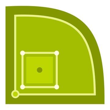 Green baseball field icon isolated