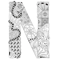 Letter N for coloring. Vector decorative zentangle object