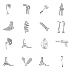 Orthopedic and spine icons set monochrome