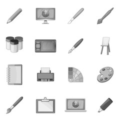 Drawing and painting tool icons set monochrome