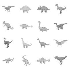 Different dinosaurs icons set monochrome