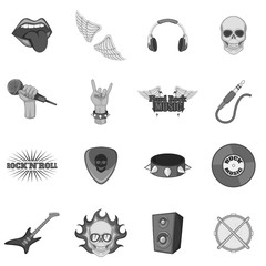 Rock music icons set monochrome