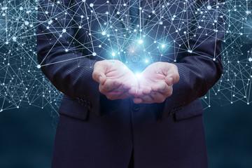 Businessman hand demonstrating digital connection lines .