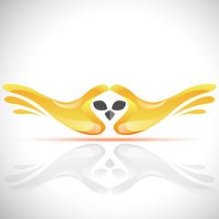 Vector flying bird logo from human's hands. Stock Owl illustration