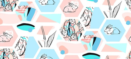 Hand drawn vector abstract artistic textured hexagon shapes Easter collage seamless pattern with graphic flowers,bunny and Easter eggs in pastel colors isolated on white background.Cute decoration