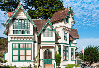 Old style buildings in Pacific Grove, Monterey, California, USA