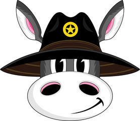 Cartoon Donkey Cowboy Sheriff