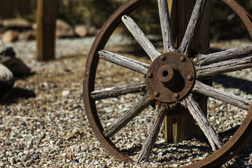 Wagon Wheel on fence