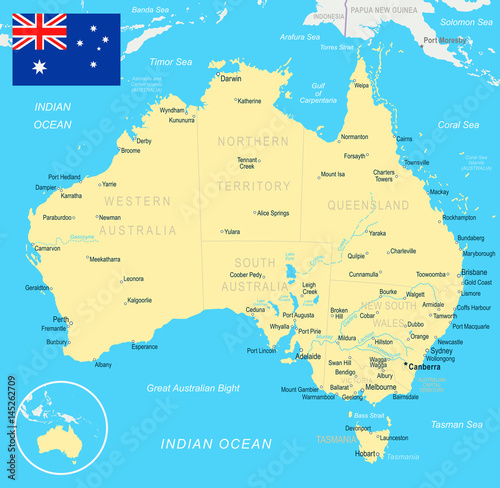 Australia Map With Flag.Australia Map And Flag Illustration Stock Image And Royalty