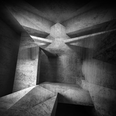 Abstract black concrete interior background 3 d art