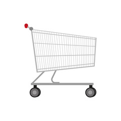 Vector illustration empty metal shopping trolley