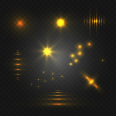 Set of abstract light. VECTOR glowing elements. Yellow