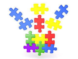 3D Illustration of jigsaw puzzle pieces falling into place