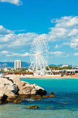 Ferris Wheel on the beach. Marseille, Provence, France.