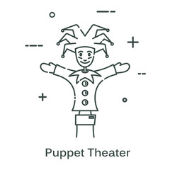 Doll-jester in a linear style. Line icon isolated on white background. Vector illustration.