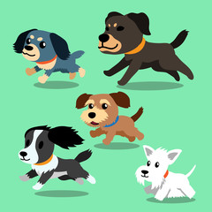 Vector cartoon dogs running