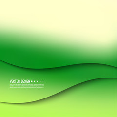 Abstract creative vector multicolored blurred background. Backdrop with gradient curves and waves. The concept of movement. The modern design. Colorful illustration with green, yellow color.