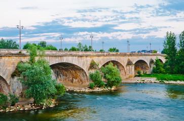 France, Loire Valley, Orleans, bridge over Loire river