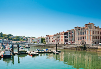 Fishing harbor of St Jean de Luz, Typical port town in the Basque Country, France
