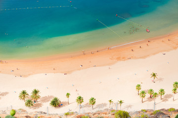 Photo sur Toile Iles Canaries aerial birdeye view of Las Teresitas beach, Tenerife island