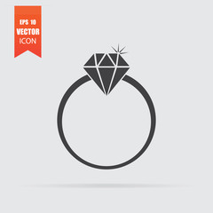 Diamond ring icon in flat style isolated on grey background.