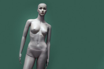 Mannequin on a green background