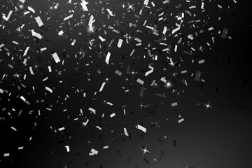 Falling Shiny Glitter silver Confetti isolated on black background. Christmas or Happy New Year Confetti. Vector Illustration