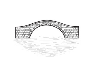 Poster Pont Small stone bridge sign isolated. Engraving retro illustration.