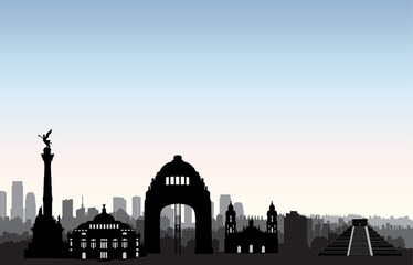 Mexico city skyline. Cityscape landmark silhouette Travel background