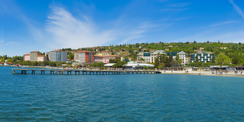 Portoroz riviera, Slovenia with luxury hotels on the seafront, 70MP XXXL panorama
