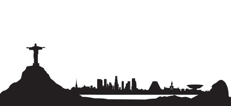 Rio de Janeiro city skyline. Travel background. Landmark cityscape