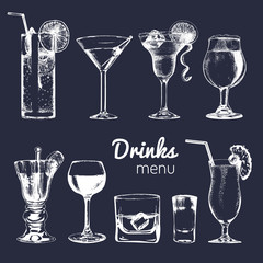Cocktails, drinks and glasses for bar, restaurant, cafe menu. Hand drawn alcoholic beverages vector illustrations set.