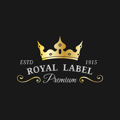 Vector crown logo template. Luxury corona monogram design. Diadem icon illustration. Used for hotel,restaurant card etc.
