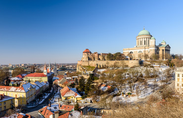 The Basilica in Esztergom and the beautiful aerial view of the city, Esztergom, Hungary