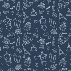 Cute fashion seamless pattern with patch badges: hearts, Eiffel tower, flower, macaroons, lingerie, lipstick, bulldog, perfume, shoes, croissant, cup of coffee. Vector trendy illustration.