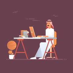 Arab Business Man Using Laptop Computer Muslim Entrepreneur In Modern Office Flat Vector Illustration