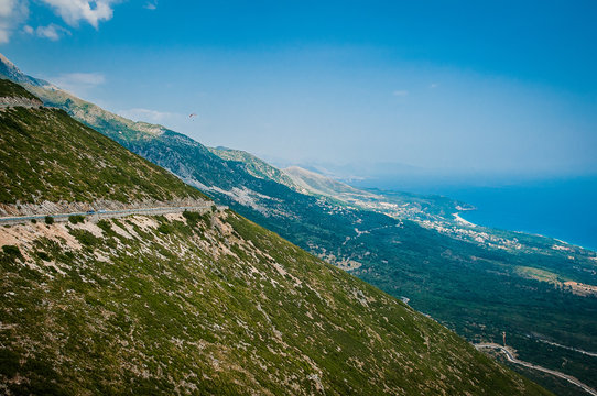 2016, Albania, Llogara National Park, Paraglider over Llogara Pass. Vlore county