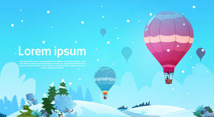 Colorful Air Balloons Flying In Sky Over Winter Snow Landscape Flat Vector Illustration