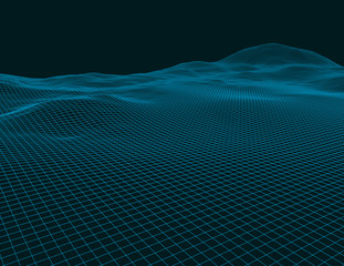 Abstract vector wireframe landscape background, 3d technology wireframe vector illustration.