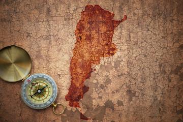 map of argentina on a old vintage crack paper