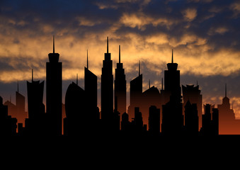 Skyline ideal city metropolis with sunset, cityscape silhouette, skyscrapers illustration