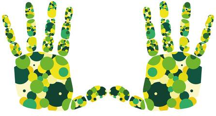 Hand links rechts gelb grün