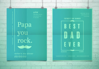 Two Teal Gradient Father's Day Event Posters