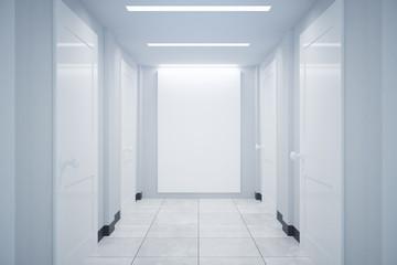 Corridor with blank billboard