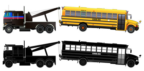 Tow truck transports broke down school bus. Side view. Vector